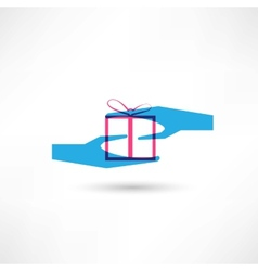 hand and a gift icon vector image