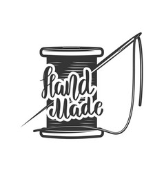 Handmade lettering phrase with coil of thread vector