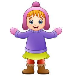 Happy girl wearing winter c vector