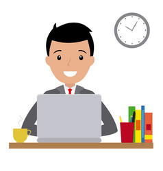 happy man sitting at his desk with laptop vector image