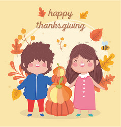 happy thanksgiving day cute boy and girl with pile vector image