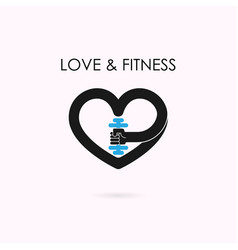 heart sign and dumbbell iconfitness and gym vector image