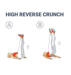 High reverse crunch woman home workout exercise vector