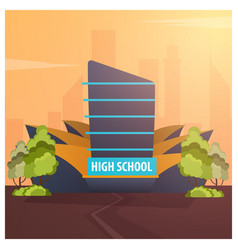 high school modern building in flat style isolated vector image