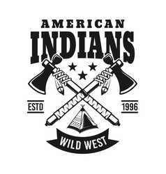 Indians emblem with two crossed hatchets vector