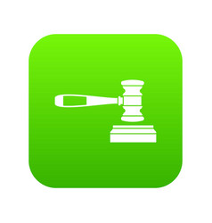 judge gavel icon digital green vector image