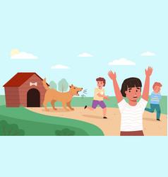 Kids run away from dog children fears vector