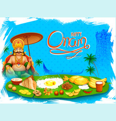 king mahabali in onam background showing culture vector image