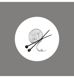 Knitting yarn skein and needles icon or logo vector