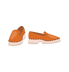 leather shoes of high quality on solid white sole vector image