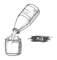 milk dairy products sketch milk pouring in glass vector image