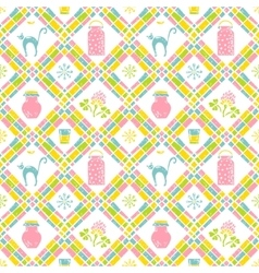 Milk seamless pattern Can and cat vector