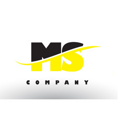 ms m s black and yellow letter logo with swoosh vector image