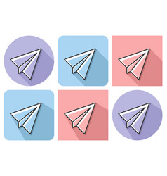 outlined icon of paper plane with parallel and vector image