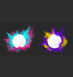 Paint powder explotion with round banner vector