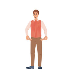 Person with no money poor empty pockets isolated vector