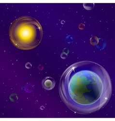 planets and sun in bubbles vector image