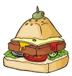 Pyramid shaped burger illustration vector