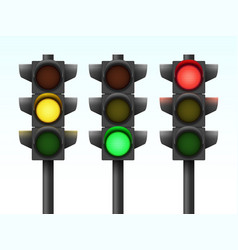 Realistic three traffic lights with different vector