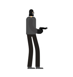 Robber and gun burglar and weapon mugger isolated vector