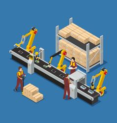 Robotic conveyor line of touchscreen phones vector