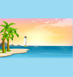 scene with lighthouse in middle ocean vector image