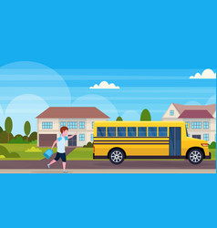 schoolboy running to chase yellow school bus vector image