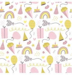 seamless pattern with cute hand drawn gift boxes vector image