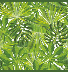Seamless tropical leaves pattern with green palm vector