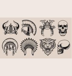 Set black and white helmets and skulls vector