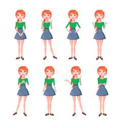 set emotions red-haired girl full-length vector image