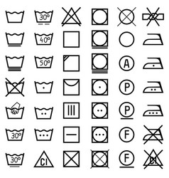 set icons on clothing label vector image