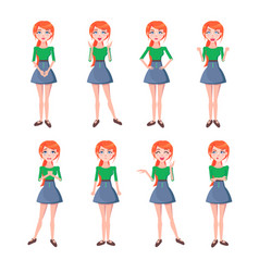 Set of emotions of red-haired girl full-length vector
