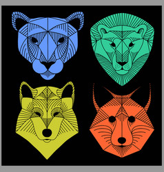 Set of polygonal animals polygonal logos vector
