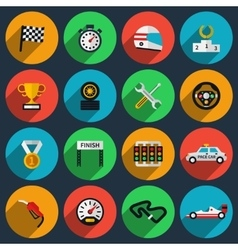 set of racing icons in flat style vector image