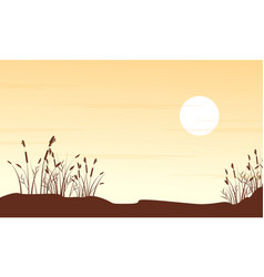 Silhouette of grass on hill landscape vector