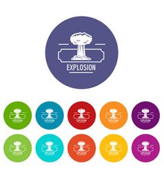smoke explosion icons set color vector image
