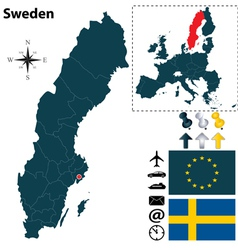 Sweden and European Union map small vector image