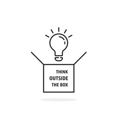 thin line think outside box icon vector image