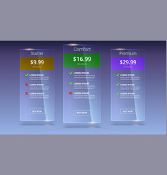Three glass banners with tariffs plan comparison vector