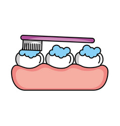 Tooth care with toothbrush vector