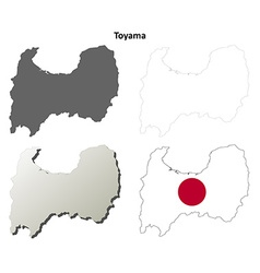 Toyama blank outline map set vector