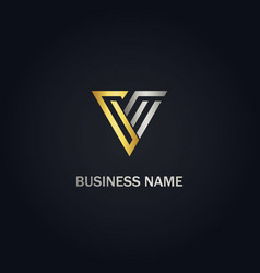 Triangle v initial company gold logo vector