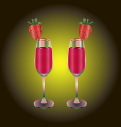 Two wineglasses with red drink and strawberry vector