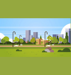 Urban park outdoors city buildings street lamps vector