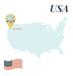 usa map with seattle pin travel concept vector image
