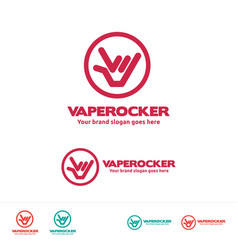 Vape rocker logo template for vaper club or vector