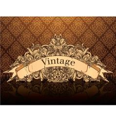 Vintage emblem with damask background vector