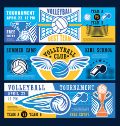volleyball sport tournament banners vector image