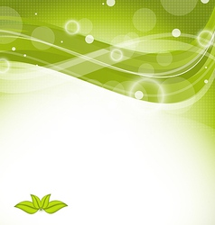 Wavy nature background with green leaves vector image